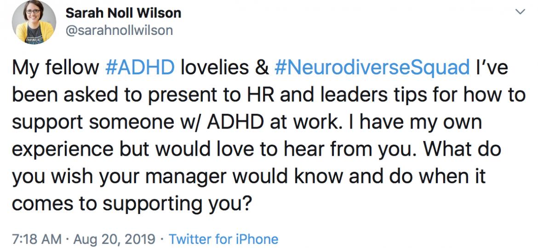 Screenshot of a tweet from Sarah Noll Wilson