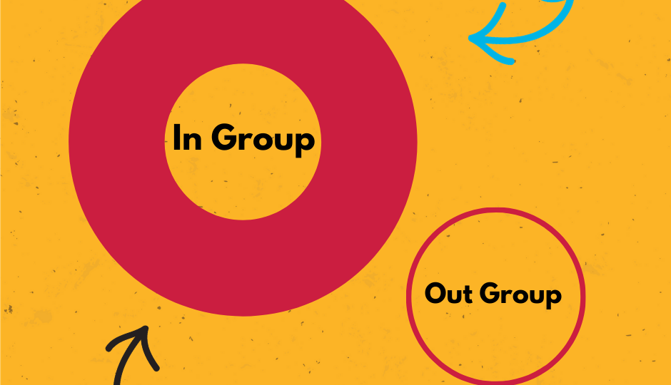 Graphic showing in group versus out group