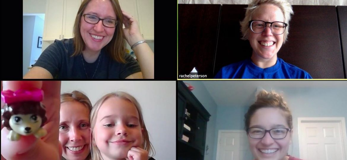 Screenshot of five people on a Zoom call